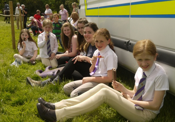Young horse-riders take a break