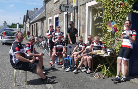 Cyclists enjoying a break at the Buck, Straiton